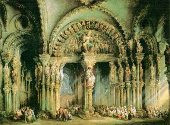Catedral de Santiago de Compostela / O Pórtico da Glória da catedral numa pintura de 1849 de Jenaro Pérez Villaamil / Wikimedia