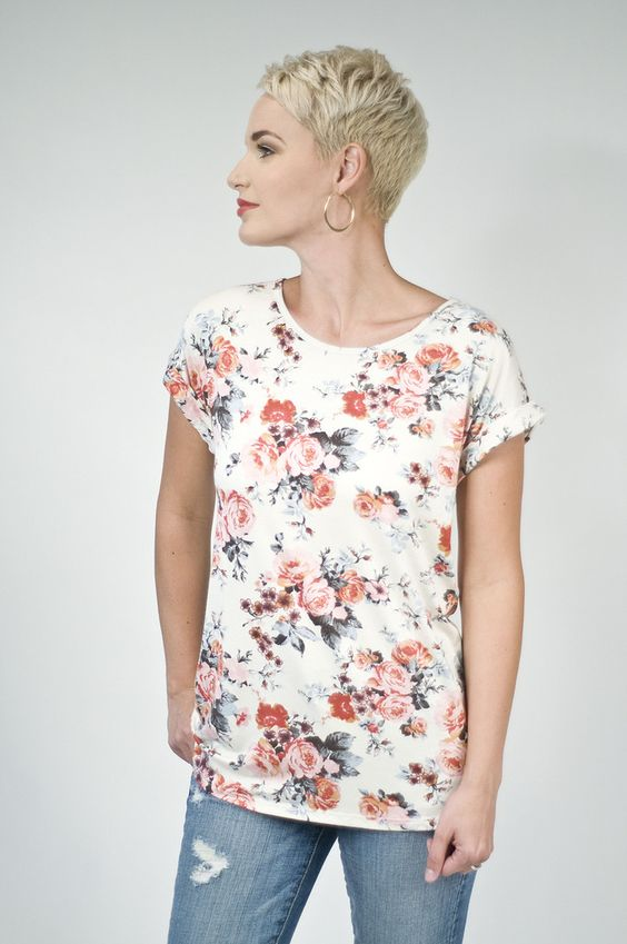 Ivory Floral Short Sleeve Top