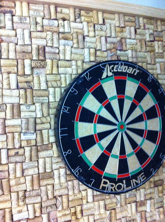 custom dart board frame with wine cork backing located in our design studio for brainstorming. Black Bedroom Furniture Sets. Home Design Ideas