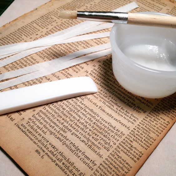 Almost every book we've read about bookbinding or book restoration shares a recipe for wheat paste, and they all differ from each other.  Probably because it isn't rocket science to make a sticky paste using water and flour.   We're going to share our recipe and what work