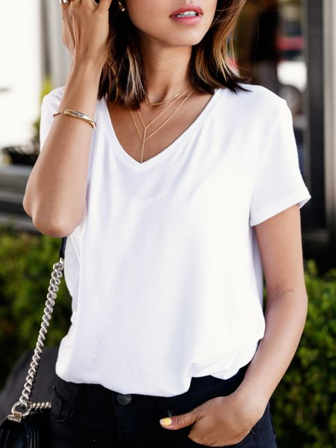 White V Neck Loose T-shirt - size L 8.90: