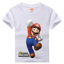 Retail Brand 2015 New Baby&Kids Girls T-shirt Child Clothing Summer Clothes Short Sleeve Tees Shirts Boys Cartoon Mario Tops(China (Mainland))