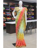 Multi colour soft net in allover embroidery work with stones pearl work border. It comes with an unstitched gold net blouse fabric in gold glitter work as shown in the pic.