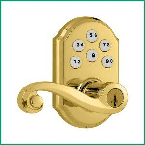 Kwikset 912 SmartCode® Electronic Lock with Tustin Lever featuring SmartKey® and Z-Wave in Polished Brass