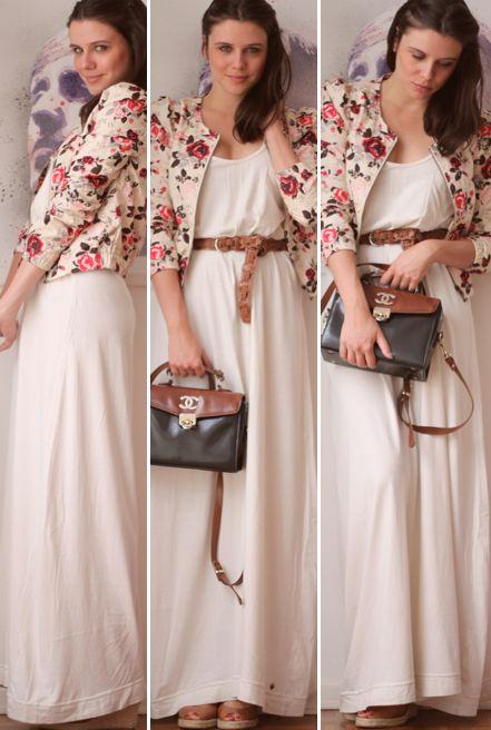 vestido branco com blazer florido: