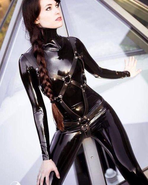 Latex catsuit femdom