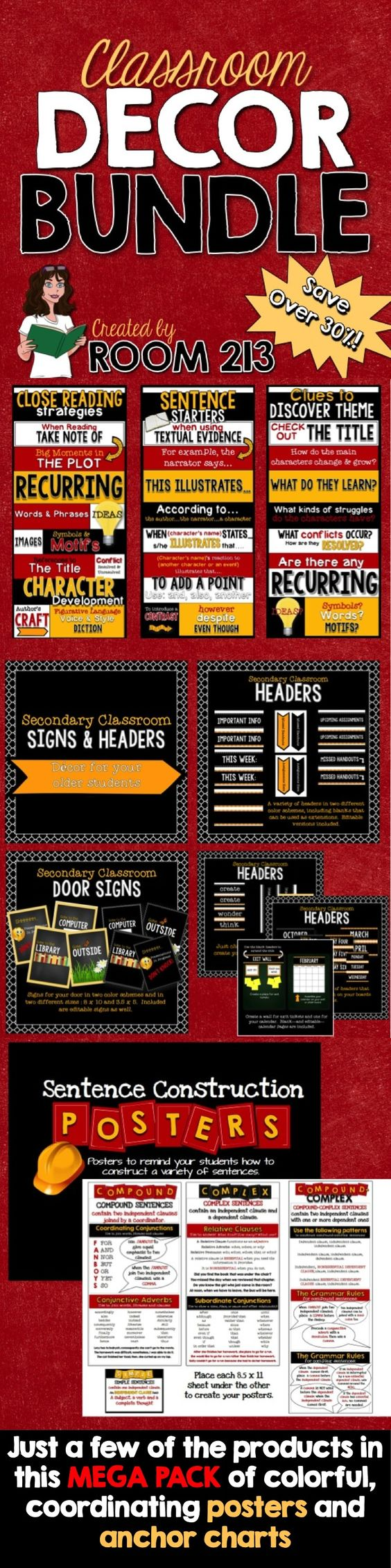 Classroom Decor Bundles ~ Classroom decor bundle student anchor charts and style