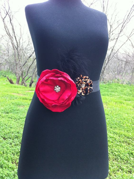 Maxi-  Bridal Bouquet Sash Belt Red, Black and Leopard Print Blossom with feathers.. Available in many colors.... $46.95, via Etsy.