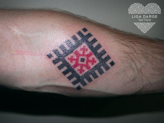 Maras cross, latvian ornament. Dotwork tattoo.