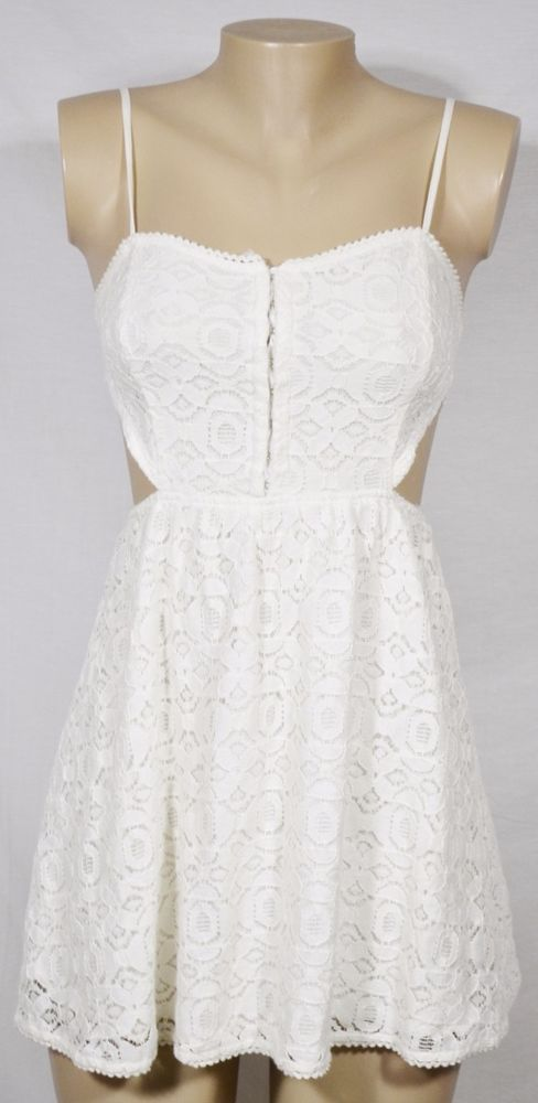 KENDALL & KYLIE White Lace Spaghetti Strap Dress Medium w/ Cut-Out Sides Lined #KendallKylie #Sexy #SummerBeach
