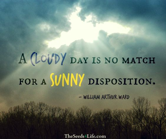 "Inspirational Day Quotes: ""A Cloudy Day Is No Match For A Sunny Disposition"