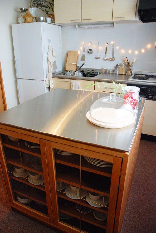 両面づかいのアイランド型作業台 食器棚 カウンター 5023 オーダーメイド家具キッチン 家具工房ツリーベ キッチン アイランド テーブル 食器棚 カウンター キッチンレイアウト