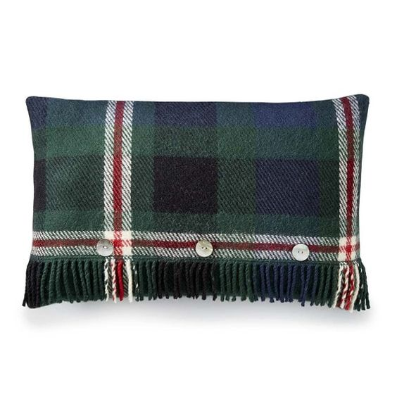 Tartan Wool Pillow Cover with Fringe, Castlebay