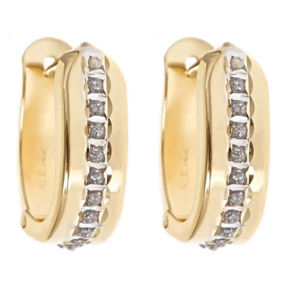 14K Yellow Gold Diamond Accent Hinged Hoops  Diamond Fascination™ 14K Yellow Gold Diamond Accent Hinged Hoops        Please report any items that arrive damaged within 72 hours.          UNWORN can be returned within 30 days