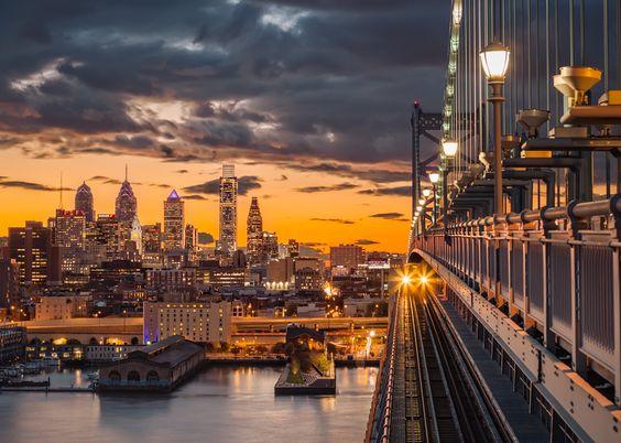 Philadelphia Skyline seen from Benjamin Franklin Bridge