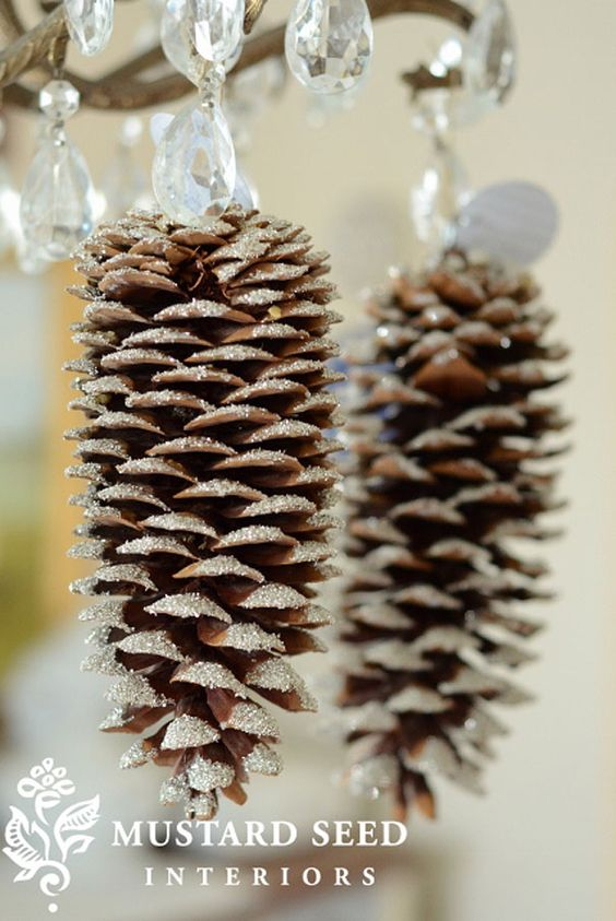 Glittery pine Cones-DIY Christmas Ornaments Ideas