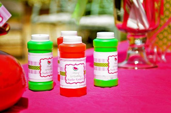 Watermelon theme birthday party - personalized bubble labels from Chickabug