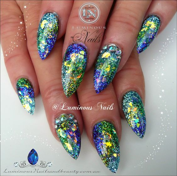 Luminous Nails: Glittery Opal Effect Nails!..Glittery Opal Effect Nails!...  Sculptured Acrylic with Birthday, Shock, Punk Rock, Sky Blue, Incredible Green, Blueberry Mylar & Crystals.