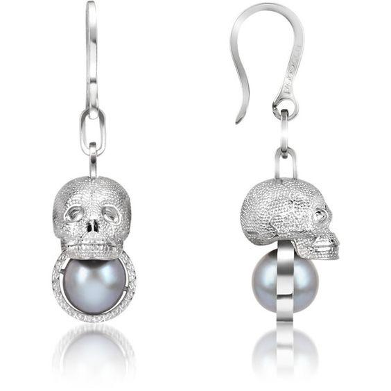 Glass Pearl & Bronze Earrings. I #want these #skull #earrings.