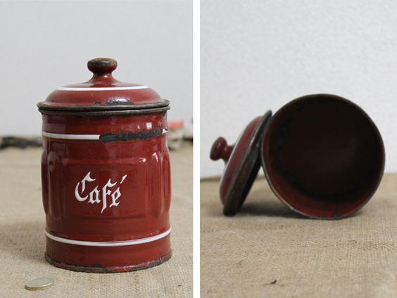 イギリスアンティーク 琺瑯ホーローキャニスター缶 ブリキ cafe Antique enamel england ¥4980円 〆03月29日