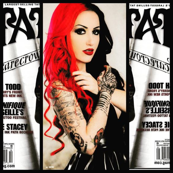 """ this months #tattoomagazine  bellissimo  Hair make up @angiealaska  Dress @nina_kate @janedoelatex"""