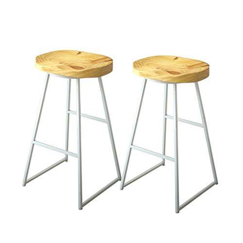 Midcentury Modern Barstools 2 Pcs Bar Chair Kitchen Pub Stools Breakfast Dining Chair Counter White Metal Frame Solid Pub Stools Bar Chairs Kitchen Bar Stools