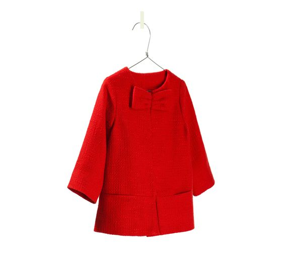 RED COAT WITH BOW - Jackets - Baby girl - Kids - ZARA United ...