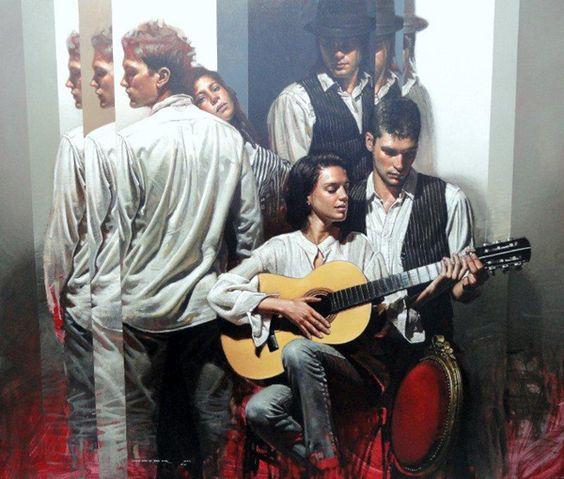 """Diego Dayer """"La lección de guitarra """" Oleo de 125 x 105 cm…"""