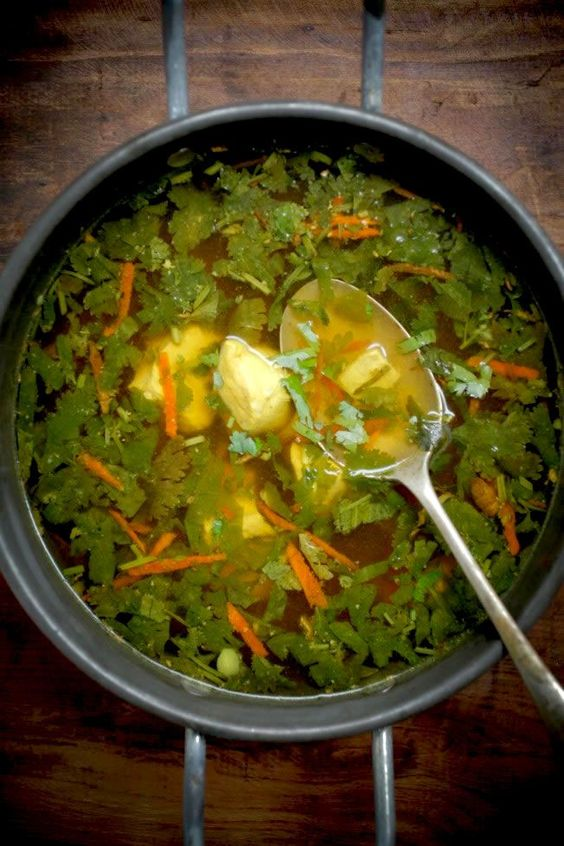 Immune boosting Chicken-Soup with ginger, turmeric, 10 garlic, chicken ...