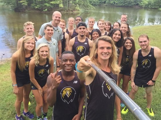 Pfeiffer Athletics: Pfeiffer University is a member of Conference Carolinas, a collegiate athletic conference, associated with the National Collegiate Athletic Association's (NCAA) Division II. This group selfie was posted by the Pfieffer track team during a brief break in a recent training session.