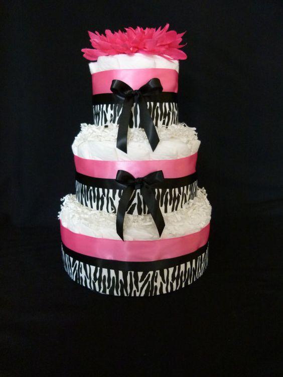 3 Tier Diva Pink and Black Zebra Baby Girl Diaper by mamabijou,