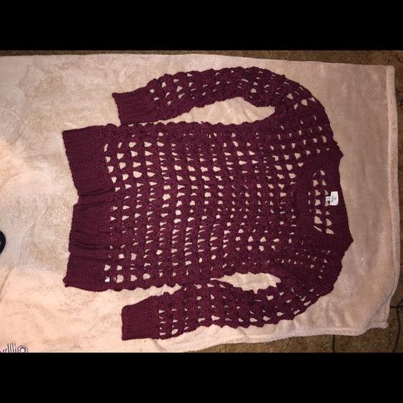 Sweater Burgundy net sweater Sweaters Crew & Scoop Necks