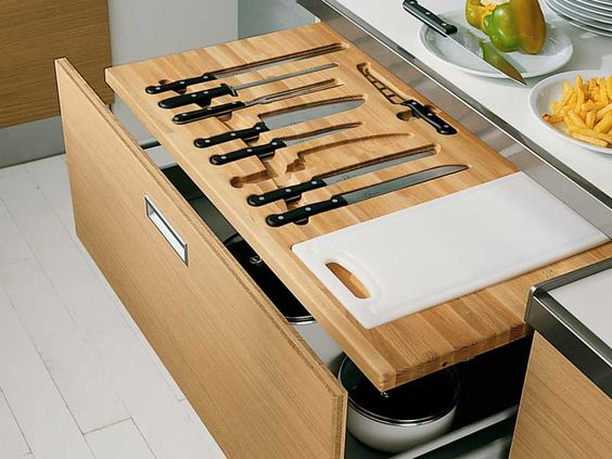 pull out cutting board and storage