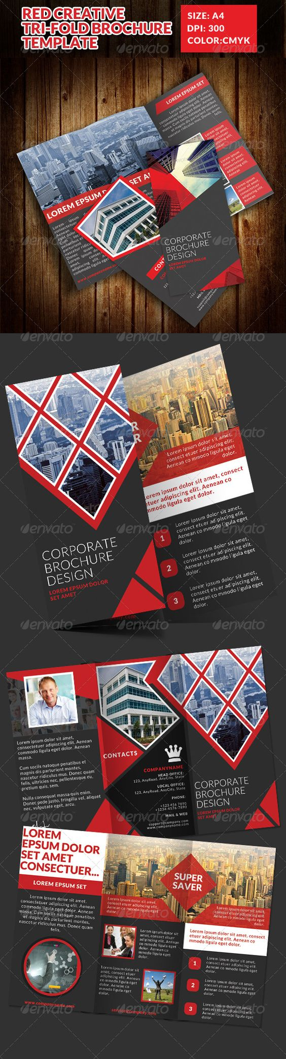 Red Creative Tri-Fold Brochure Templa