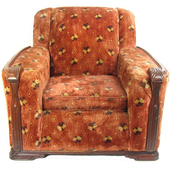 1940s Upholstered Club Chair W Wood Trim Wood Trim