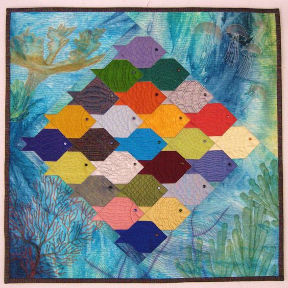 """Fish-Fish-Shark, 20 x 20"""", art quilt by Lisa Jenni 