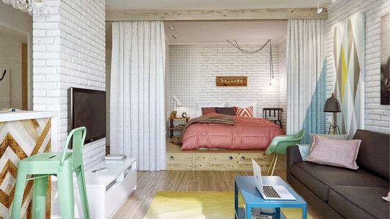 Un pequeño apartamento en tonos pastel