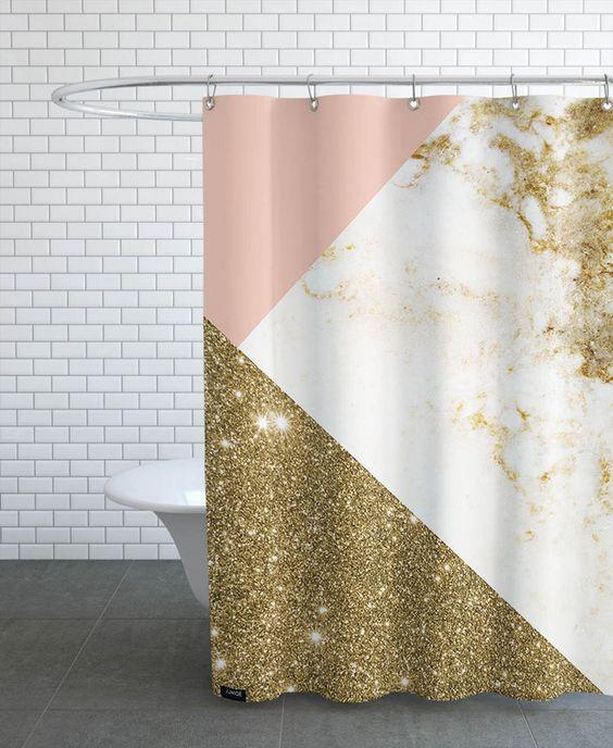 Pink and Gold Marble Collage en Rideau de douche par cafelab | JUNIQE