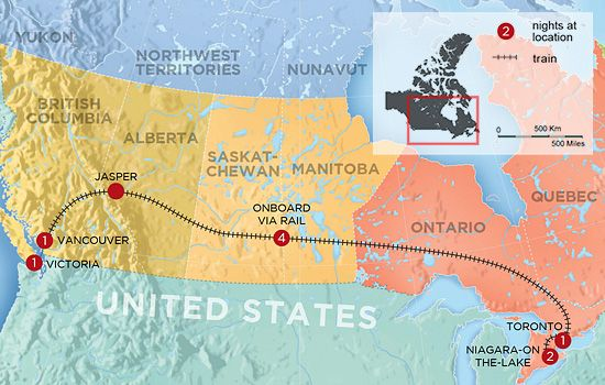 Canada Map Toronto Vancouver Train Across Canada Guide (What no one tells you) | Train travel