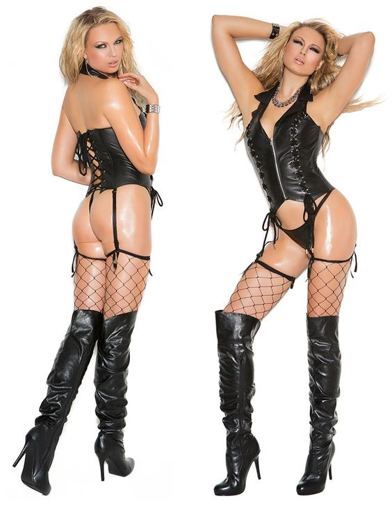Zip front leather corset with lace up front detail * L3139