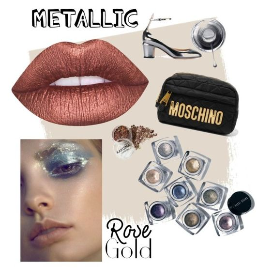 """""""metallic"""" by stylesmanda on Polyvore featuring beauty, Lime Crime, Bobbi Brown Cosmetics, Moschino and Valentino"""