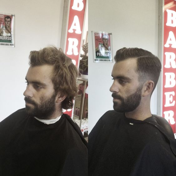 before and after beard side part pompadour barber barberlife short back and sides jack. Black Bedroom Furniture Sets. Home Design Ideas