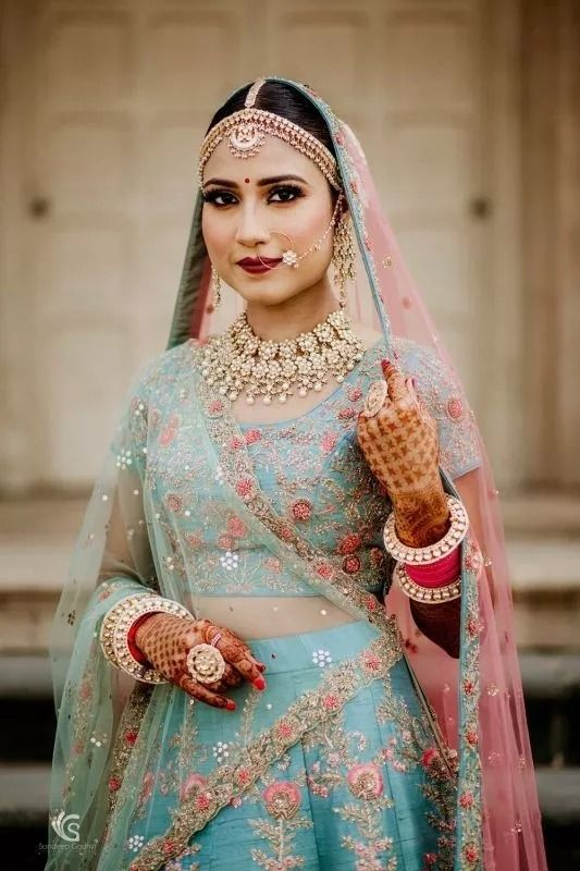 Light Pink And Light Blue In 2020 Bridal Lehenga Images Lehenga Color Combinations Latest Bridal Lehenga Designs