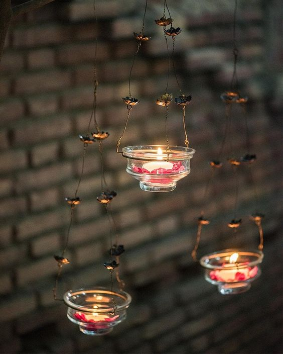 Outdoor tea lamps to hang from trees