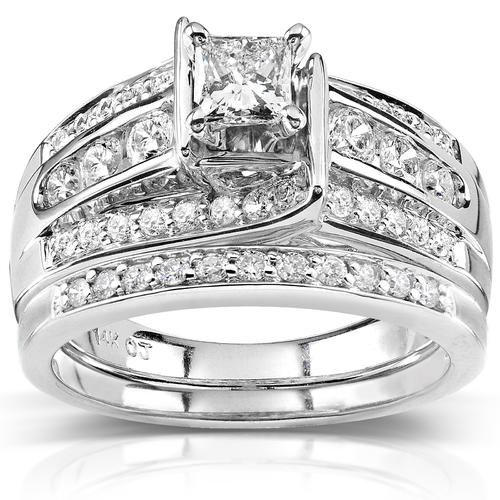 Kobelli 1 Carat Ct Tw Princess Diamond Wedding Rings Set In 14k White Gold Kmart Diamond Wedding Rings Sets Diamond Bridal Ring Sets Diamond Bridal Sets