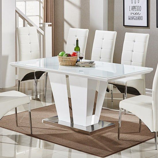 Memphis Glass Dining Table In White Gloss And Chrome Base Glass