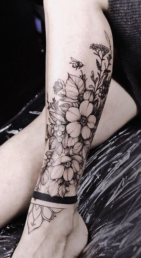 Feminine Tattoos Ceramic Tattoo Art Anklet Tattoos Leg