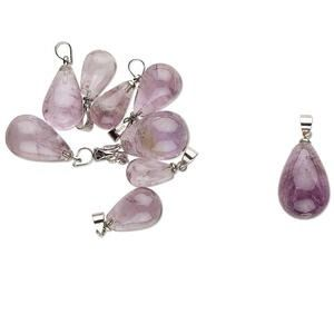 Pendant mix, imitation rhodium-finished and amethyst (natural), 20x7mm-29x14mm teardrop. Sold per pkg of 10.