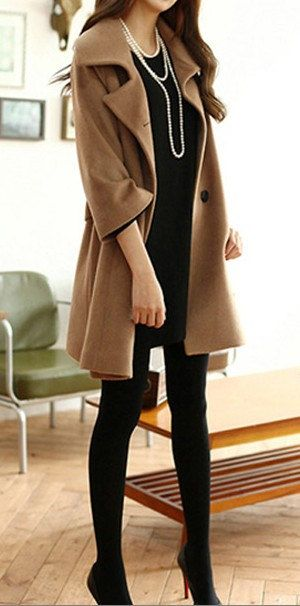 Black / Dark Brown wool Jacket Women dress by happyfamilyjudy