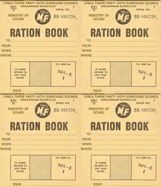 Blank Ration book invitations/menu cards